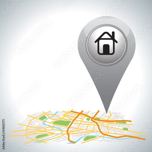 gray Pointer pin up icon with house on white.