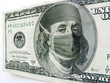 canvas print picture - Ben Franklin Wearing Healthcare Mask on One Hundred Dollar Bill