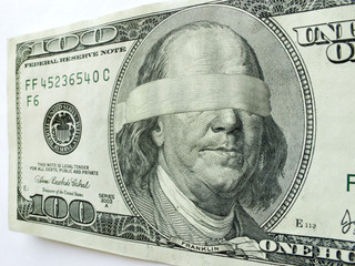 Blindfolded Ben Franklin On Hundred Dollar Bill