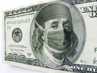 Ben Franklin Wearing Healthcare Mask on One Hundred Dollar Bill