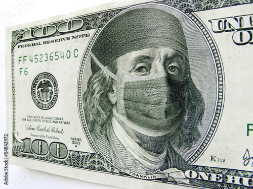 canvas print picture Ben Franklin Wearing Healthcare Mask on One Hundred Dollar Bill