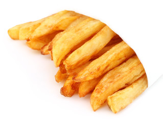 French fry over white background