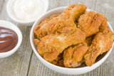 Southern Fried Hot Chicken Wings with bbq and garlic mayo dips