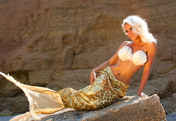 Beautiful blonde mermaid