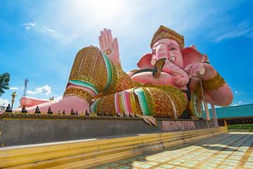 Pink ganesha statue Nakornnayok in Thailand