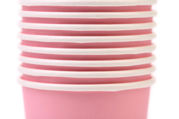Pile of colorful paper coffee cup. Close up.
