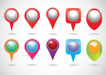 colorful of Vector Map Pins Pointer Icons