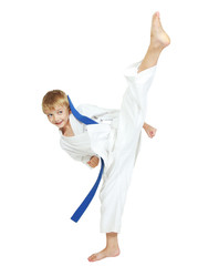 The sportsman in a kimono performs a kick leg circular insulated