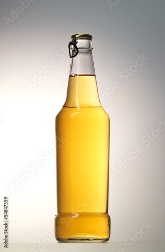 beer bottle on grey background