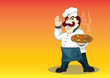temperamental Italian chef with appetizing hot pizza