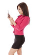 Profile view of an attractive woman using her phone.
