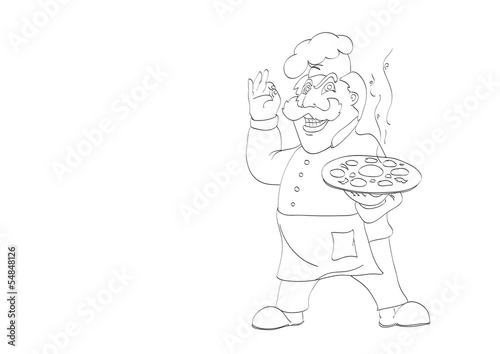 contour of  chef with appetizing hot pizza on isolated white