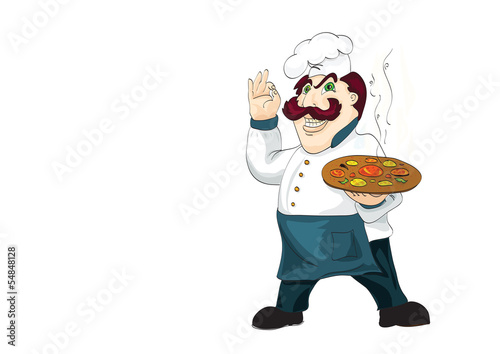 Italian chef with appetizing hot pizza on isolated white