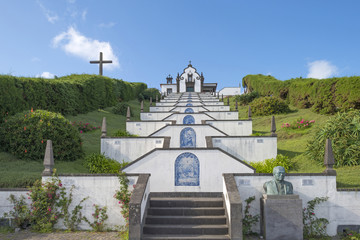 Stairway uphill to a church