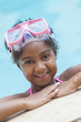 African American Girl Child Swimming Pool Wearing Goggles