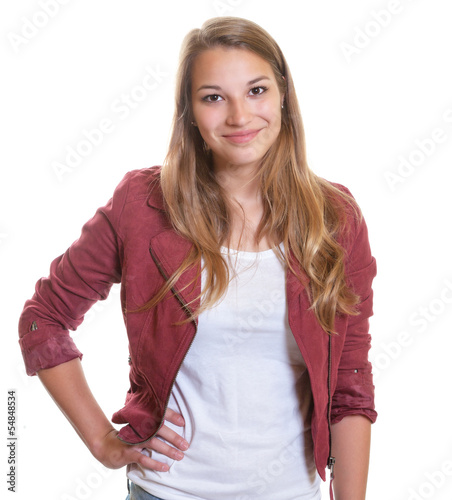 Standing young girl shows happiness