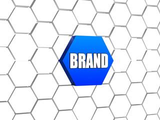 brand in blue hexagon