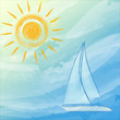 blue summer background with suns and boat