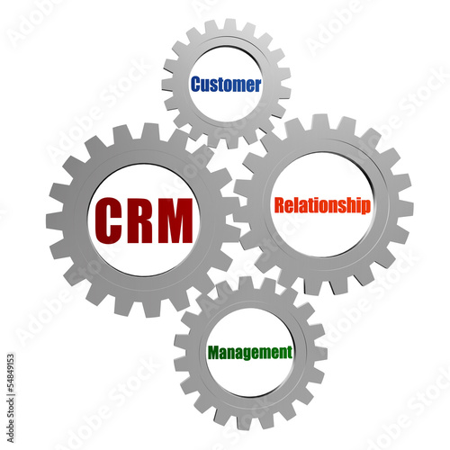 CRM - customer relationship management in silver grey gears