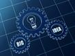big idea and light bulb symbol in blue gears