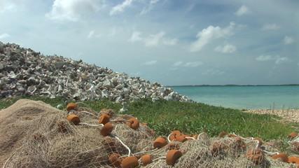 Heap of shells and fishing gear