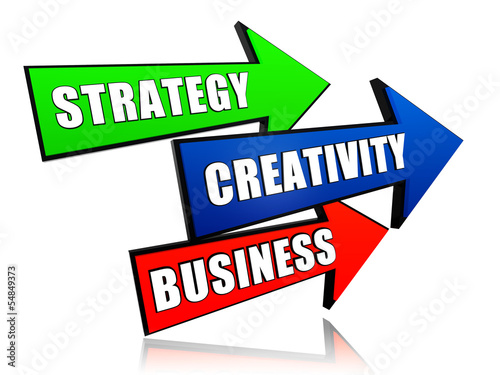 strategy, creativity, business in arrows