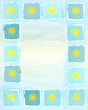 summer frame background with yellow suns in squares