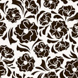 Seamless pattern with abstract flowers and leaves. Vector.