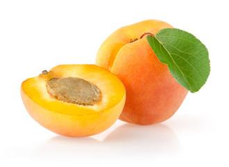 Ripe Apricots with Leaf Isolated on White Background