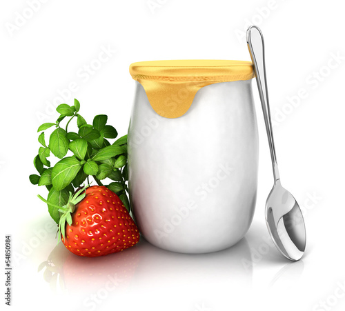 3d yoghurt with a strawberry