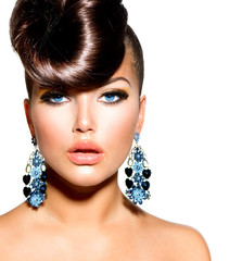 Fashion Model Girl Portrait with Blue Eyes. Creative Hairstyle