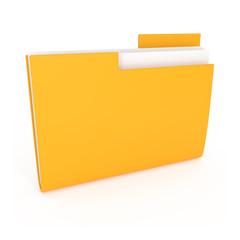 Yellow File Folder Icon isolated on white