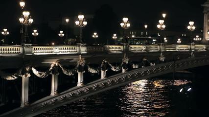 Мост Александра третьего в Париже ночью