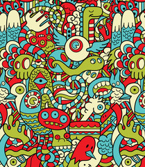 Seamless Hipster Doodle Monster Collage Pattern