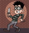 Vector illustration of cartoon thief