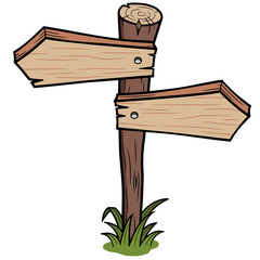Vector illustration of wooden arrows sign