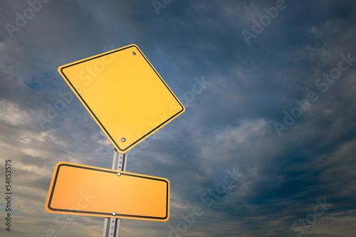 Blank warning road sign