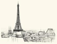 La tour Eiffel sur les toits de Paris