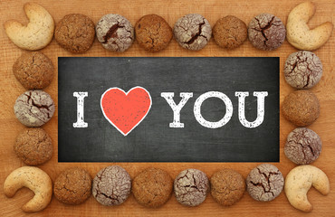 I Love You Chalkboard With Cookies Frame
