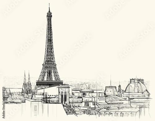 Eiffel tower over roofs of Paris - 54853970