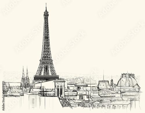Fototapeta Eiffel tower over roofs of Paris