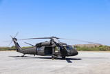 Military helicopter blackhawk at a base