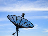 Home satellite dish receiver with blue sky