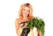 Junge attraktive Frau mit Gemüse in ihrer Einkaufstüte
