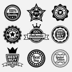 Set of premium quality labels with retro style design