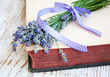lavender on an old book