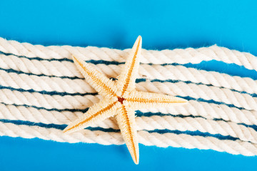 Rope and starfish on blue