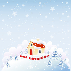 Cute house in winter time