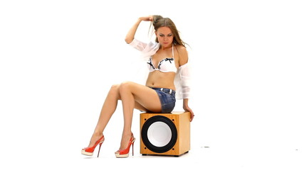 woman dancing on the subwoofer