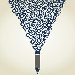 Letter a pencil